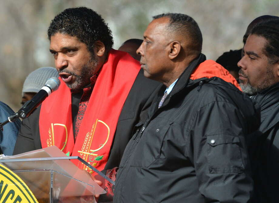 North Carolina NAACP President Rev. William J. Barber addresses thousands of people after they marched through downtown Raleigh, N.C. Saturday Feb. 8, 2014. for  the Moral March on Raleigh  AP Photo