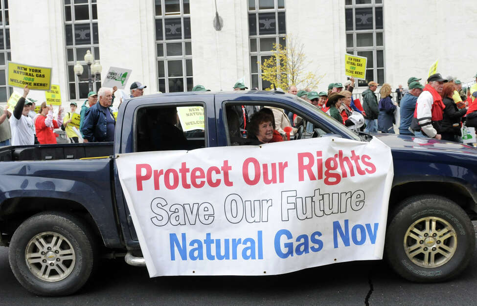 Hyrdofracking supporters march along Broadway following a rally at Jennings Landing on Monday, Oct. 15, 2012, in Albany, N.Y. (Lori Van Buren / Times Union archive)