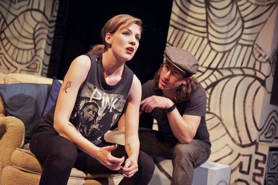 "Sarah Moser plays Oksana and Harold Pierce plays Paul in one of the interconnected stories in Just Theater's ""A Maze."" Photo: Pak Han"