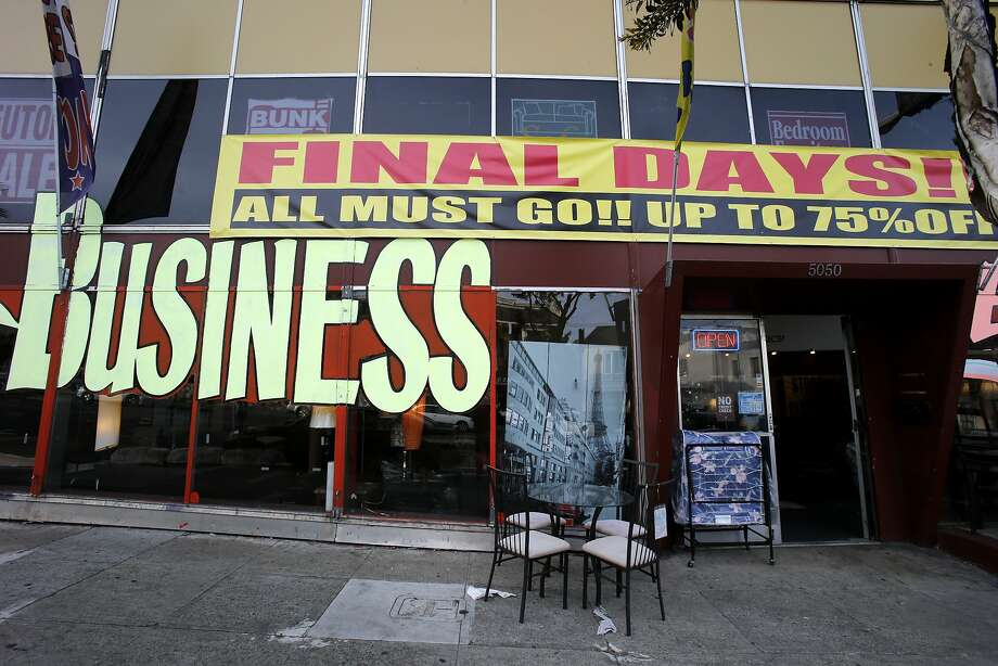 A furniture store in the Excelsior district advertises its closing sale last week. The neighborhood hasn't enjoyed the benefits of the tech boom seen in other areas. Photo: Brant Ward, The Chronicle