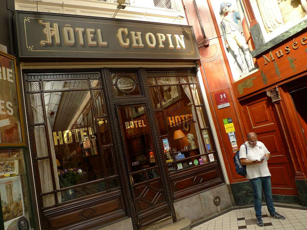 The Hotel Chopin was built in 1846 on Passage Jouffroy, one of the 19th century covered arcades in Paris' 2nd Arrondissement.