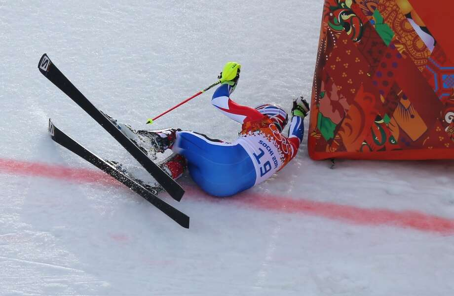 Thomas Mermillod Blondin of France falls during the Alpine Skiing Men's Super Combined Downhill on day 7 of the Sochi 2014 Winter Olympics at Rosa Khutor Alpine Center on February 14, 2014 in Sochi, Russia.  (Photo by Alexander Hassenstein/Getty Images) Photo: Alexander Hassenstein, Getty Images