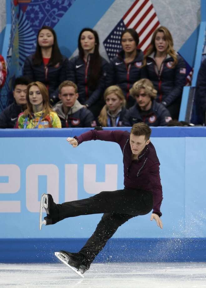 Jeremy Abbott of the United States falls as he competes in the men's team short program figure skating competition at the Iceberg Skating Palace during the 2014 Winter Olympics, Thursday, Feb. 6, 2014, in Sochi, Russia. (AP Photo/Bernat Armangue) Photo: Bernat Armangue, Associated Press