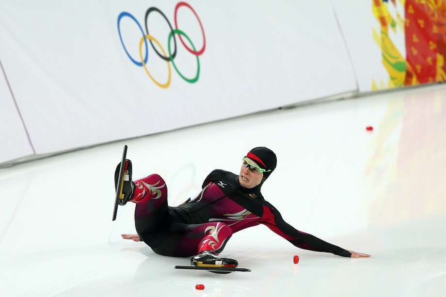Monique Angermueller of Germany falls while competing during the Women's 1000m Speed Skating event on day 6 of the Sochi 2014 Winter Olympics at Adler Arena Skating Center on February 13, 2014 in Sochi, Russia.  (Photo by Clive Mason/Getty Images) Photo: Clive Mason, Getty Images