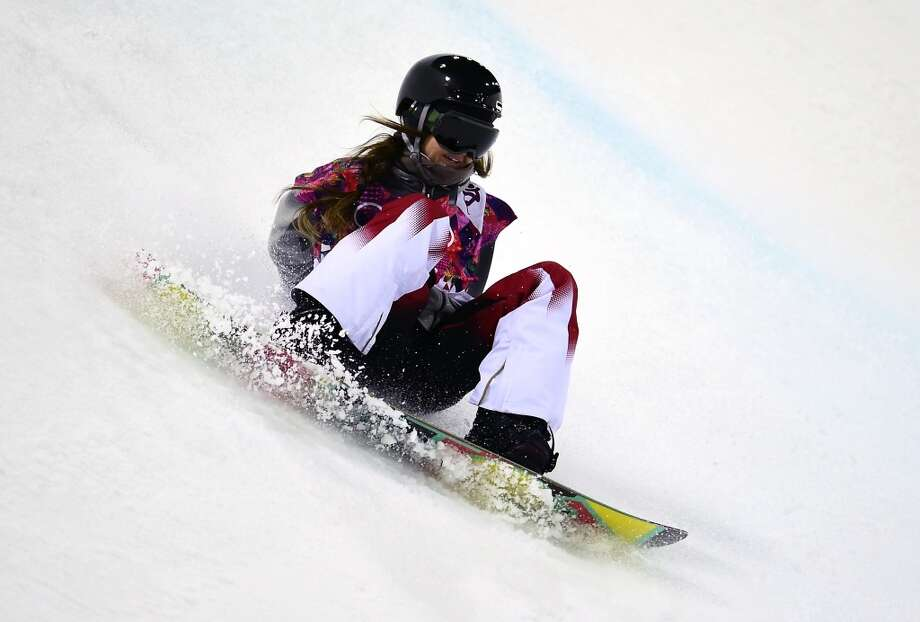 US Kaitlyn Farrington falls while competing in the Women's Snowboard Halfpipe Semifinals at the Rosa Khutor Extreme Park during the Sochi Winter Olympics on February 12, 2014.  AFP PHOTO / JAVIER SORIANOJAVIER SORIANO/AFP/Getty Images Photo: JAVIER SORIANO, AFP/Getty Images