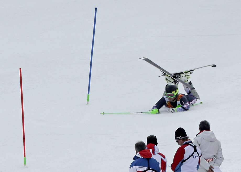 United States' Andrew Weibrecht falls as he competes during the slalom portion of the men's supercombined at the 2014 Winter Olympics, Friday, Feb. 14, 2014, in Krasnaya Polyana, Russia. (AP  Photo/Charlie Riedel) Photo: Charlie Riedel, Associated Press