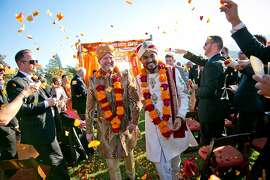 San Franciscans Matt Hicks, former Facebook exec, and Harshal Sanghavi, a web designer, married Oct. 19, 2013, at Atwood Ranch in Glen Ellen, CA. The ceremony reflected their love of wine country weekends and city chic, as well as Sanghavi's Indian heritage.