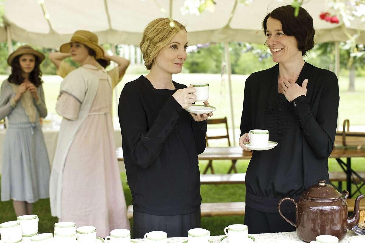 Joanne Froggatt as Anna Bates and Raquel Cassidy as Baxter.