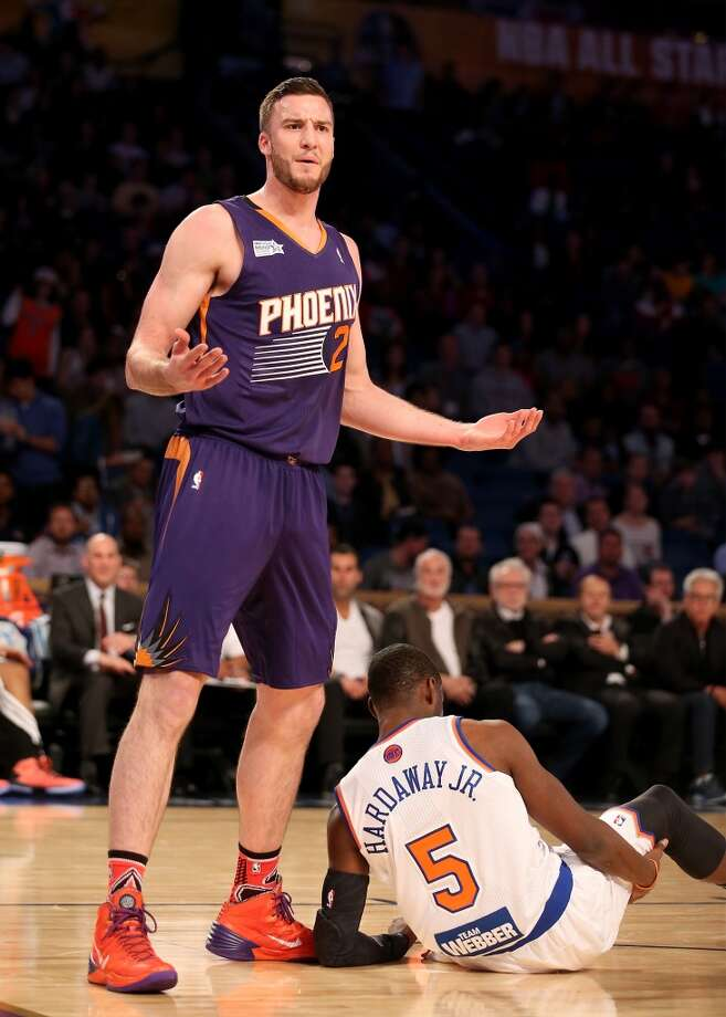 NEW ORLEANS, LA - FEBRUARY 14:  Team Hill's Miles Plumlee #22 of the Phoenix Suns reacts after he is called for fouling Team Webber's Tim Hardaway Jr #5 of the New York Knicks during the BBVA Compass Rising Stars Challenge 2014 as part of the 2014 NBA Allstar Weekend at the Smoothie King Center on February 14, 2014 in New Orleans, Louisiana. NOTE TO USER: User expressly acknowledges and agrees that, by downloading and or using this photograph, User is consenting to the terms and conditions of the Getty Images License Agreement.  (Photo by Christian Petersen/Getty Images) Photo: Christian Petersen, Getty Images