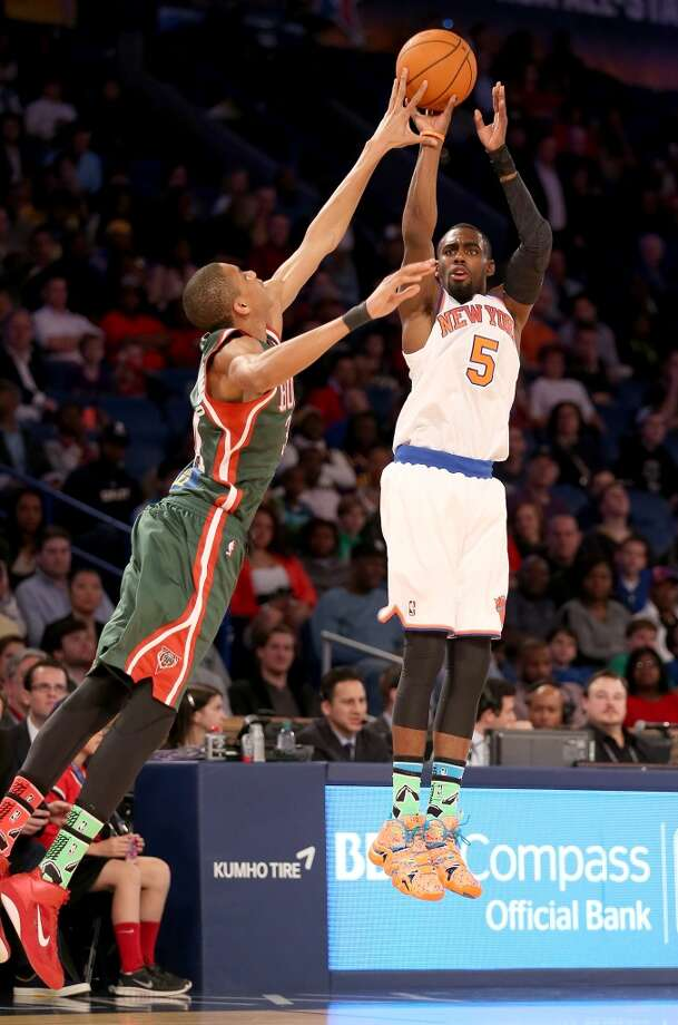 NEW ORLEANS, LA - FEBRUARY 14:  Team Webber's Tim Hardaway Jr. #5 of the New York Knicks takes a shot as Team Hill's Giannis Antetokounmpo #34 of the Milwaukee Bucks defends during the BBVA Compass Rising Stars Challenge 2014 as part of the 2014 NBA Allstar Weekend at the Smoothie King Center on February 14, 2014 in New Orleans, Louisiana. NOTE TO USER: User expressly acknowledges and agrees that, by downloading and or using this photograph, User is consenting to the terms and conditions of the Getty Images License Agreement.  (Photo by Christian Petersen/Getty Images) Photo: Christian Petersen, Getty Images