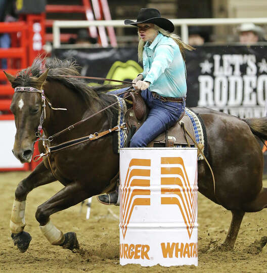 Annesa Self, of Sanger, TX, competes in the barrel racing event during the San Antonio Stock Show &