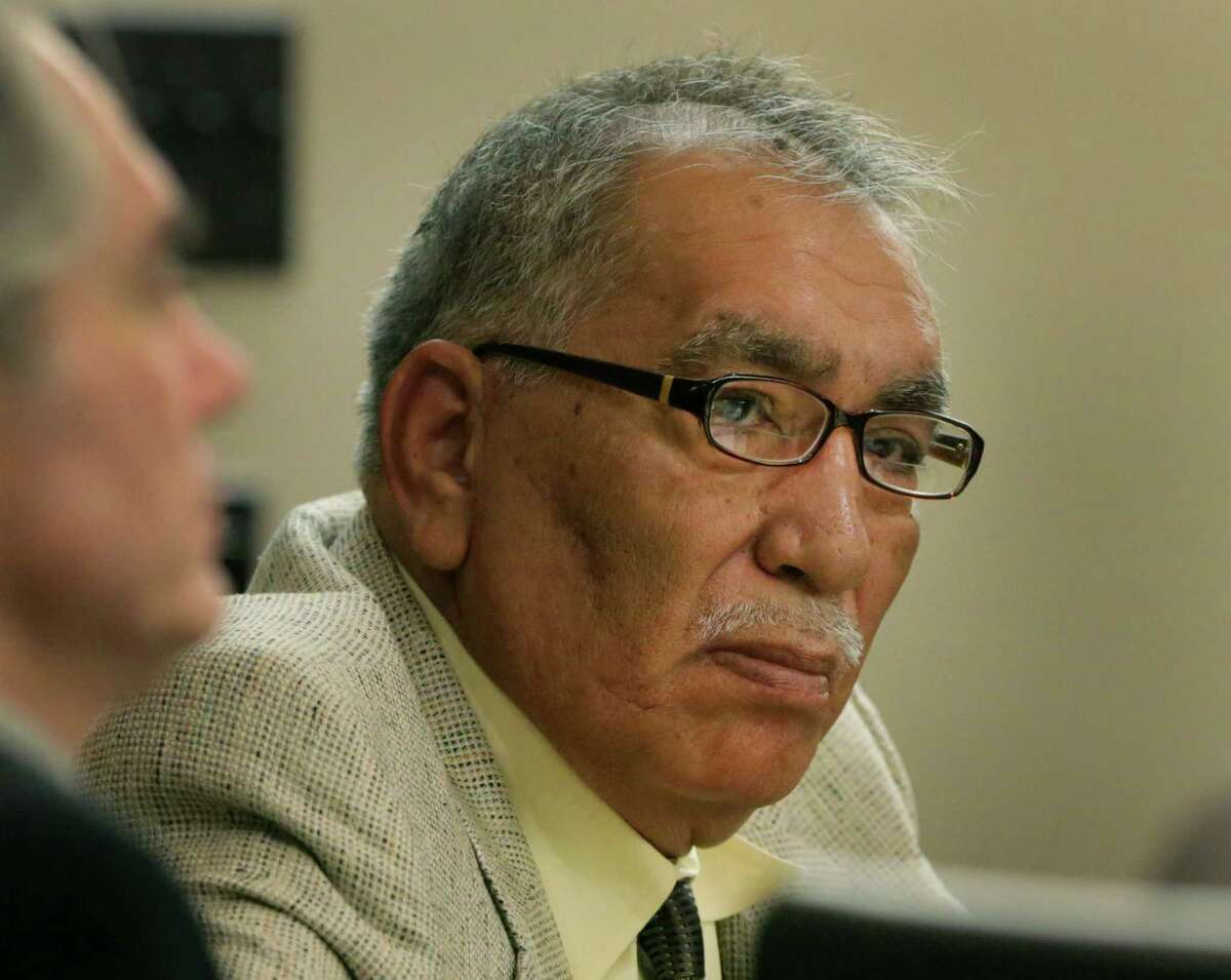 Benito Valverde is on trial for murder, in the 290th District Courtroom at the Cadena-Reeves Justice Center. Tuesday, Feb. 11, 2014.