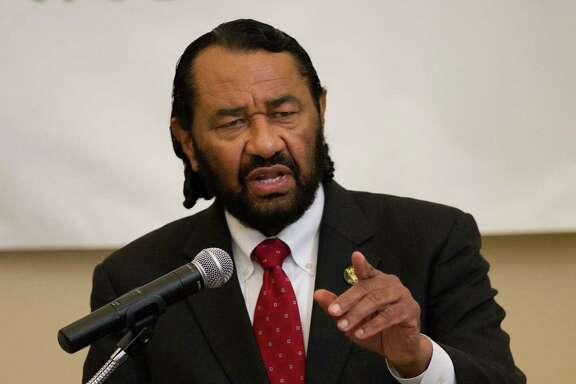 """Congressman Al Green during a press conference to discuss the impact of """"young invincibles"""" on the ongoing rollout of the ACA federal health-care system on Friday, Feb. 14, 2014. (Bob Levey/For The Chronicle)"""