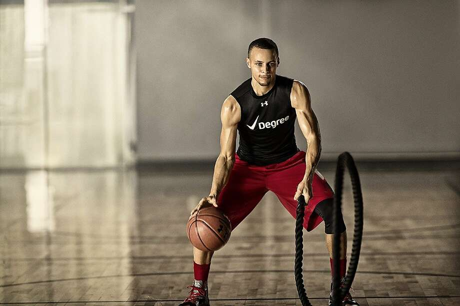 The Warriors' Stephen Curry is among the most sought-after endorsers in the game today. Among the companies he works for now are Under Armour, Muscle Milk, and Degree. Photo: Handout Photo