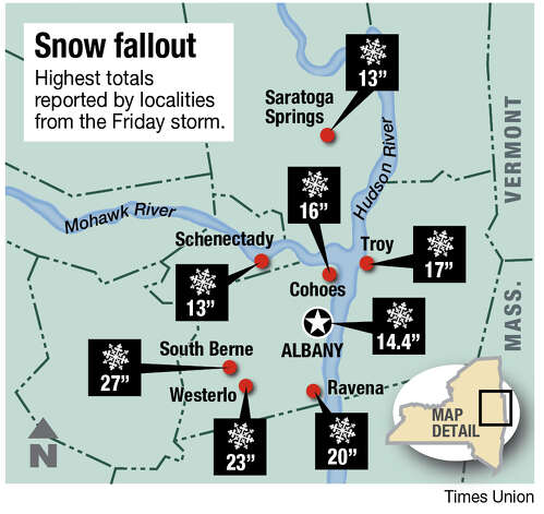 Capital Region snowfall totals.