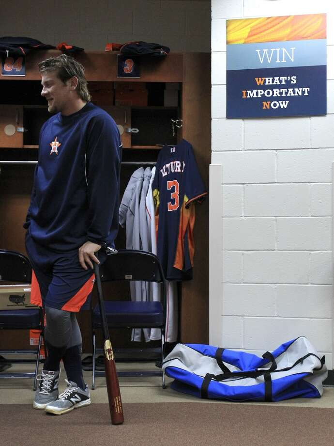 Astros third baseman Jonathan Meyer stands in the clubhouse before a workout. Photo: Karen Warren, Houston Chronicle