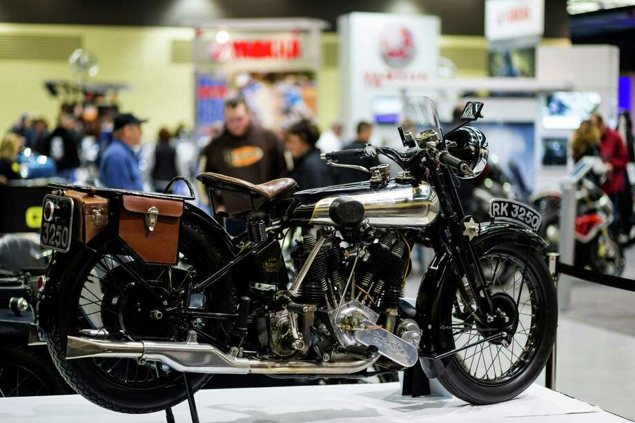 Vintage, modern, three-wheeled and custom-designed bikes of all colors and sizes on display at the Progressive International Motorcycle Show Friday, Feb. 14, 2014, at the Washington State Convention Center in Seattle. The event - which runs through Sunday - also featured live music, builder competitions and celebrity appearances. Photo: JORDAN STEAD, SEATTLEPI.COM / SEATTLEPI.COM