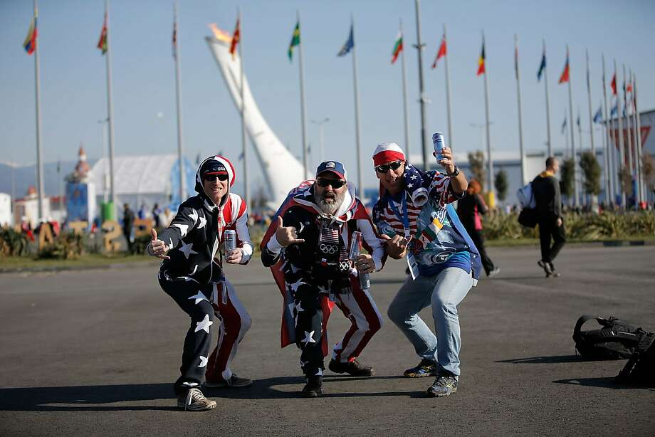 American fans show their team allegiance on the way to the U.S.-Russia hockey game at Olympic Park in Sochi. Photo: Joe Scarnici, Getty Images