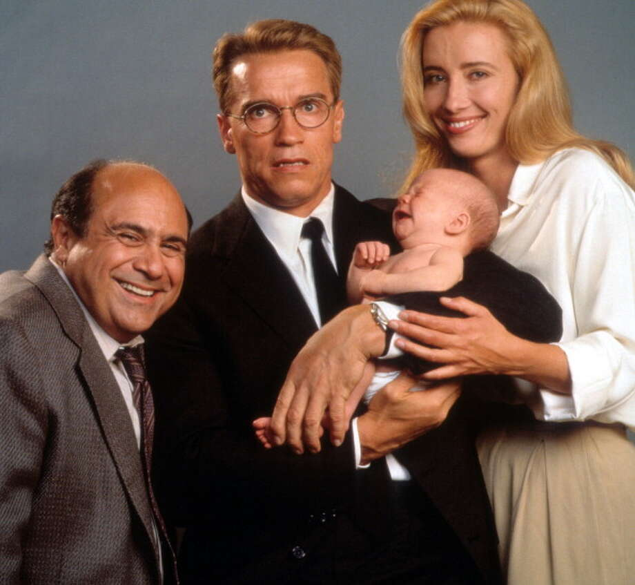 Danny DeVito, Arnold Schwarzenegger and Emma Thompson in publicity portrait for the film 'Junior', 1994. (Photo by Buena Vista/Getty Images) Photo: Hulton Archive, Getty Images / 2012 Getty Images