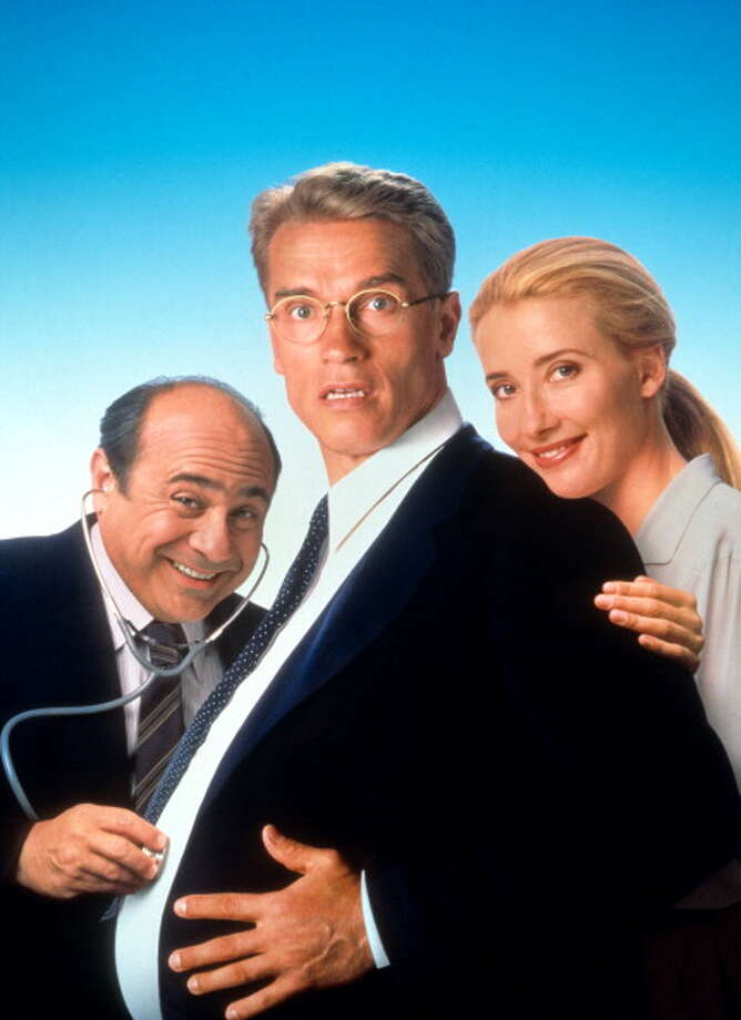 Danny DeVito, Arnold Schwarzenegger and Emma Thompson in movie art for the film 'Junior', 1994. (Photo by Buena Vista/Getty Images) Photo: Hulton Archive, Getty Images / 2012 Getty Images