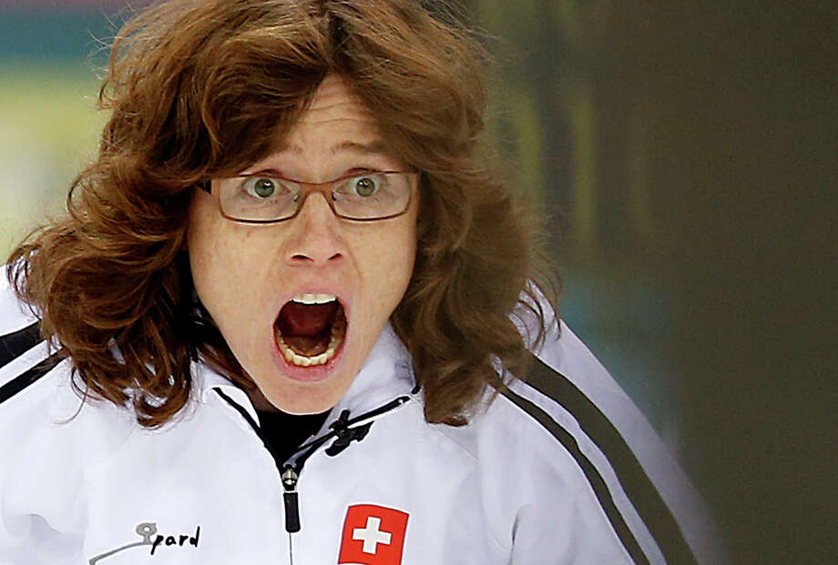 Switzerland's skip Mirjam Ott shouts instructions to her team during the women's curling competition against Britain at the 2014 Winter Olympics, Saturday, Feb. 15, 2014, in Sochi, Russia. Photo: Wong Maye-E, AP / AP
