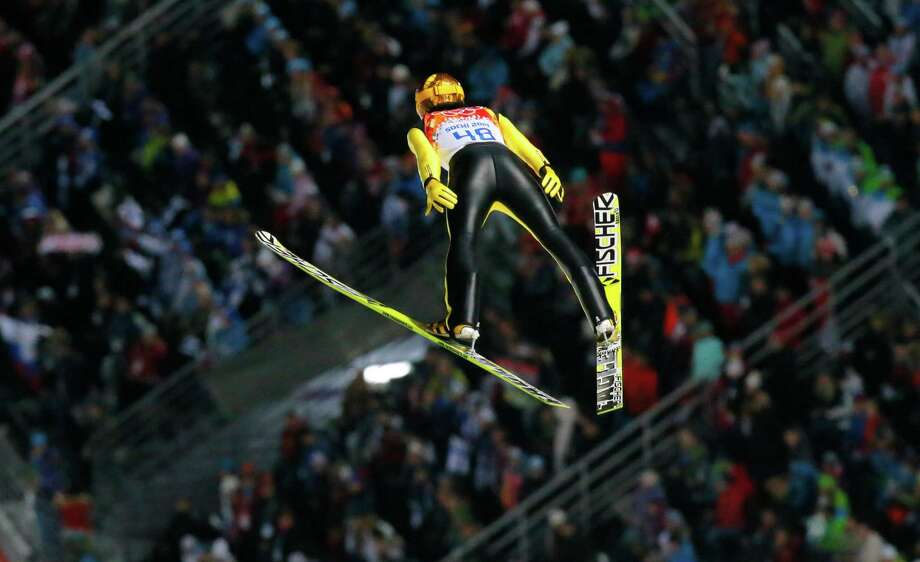 Japan's Noriaki Kasai makes his first attempt during the ski jumping large hill final at the 2014 Winter Olympics, Saturday, Feb. 15, 2014, in Krasnaya Polyana, Russia. Photo: Dmitry Lovetsky, AP / AP