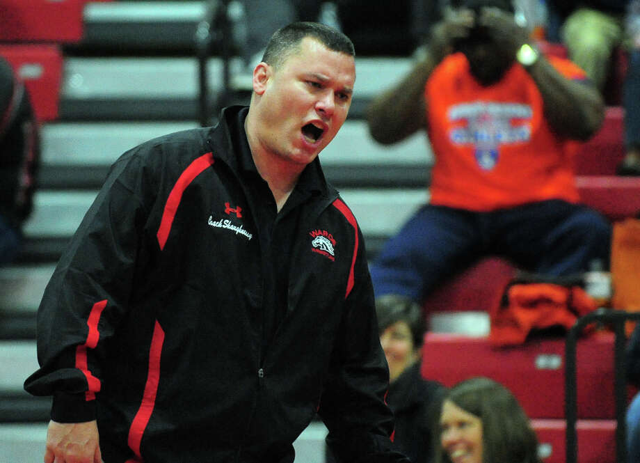 Fairfield Warde Head Coach Jason Shaughnessy at FCIAC Wrestling Championship action at New Canaan High School in New Canaan, Conn. on Saturday February 15, 2014. Photo: Christian Abraham / Connecticut Post