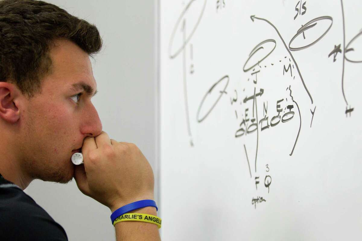 A chunk of Johnny Manziel's preparation for the NFL combine and draft entails breaking down plays and understanding how to read pass coverages.