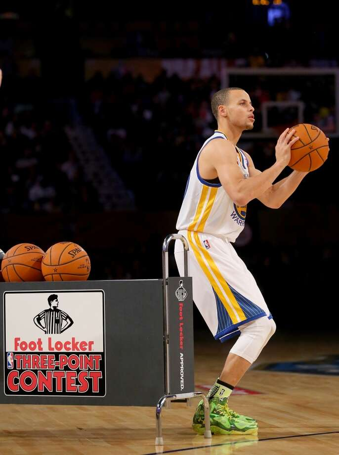 NEW ORLEANS, LA - FEBRUARY 15:  Western Conference All-Star Stephen Curry #30 of the Golden State Warriors competes in the Foot Locker Three-Point Contest 2014 as part of the 2014 NBA All-Star Weekend at the Smoothie King Center on February 15, 2014 in New Orleans, Louisiana. NOTE TO USER: User expressly acknowledges and agrees that, by downloading and or using this photograph, User is consenting to the terms and conditions of the Getty Images License Agreement.  (Photo by Ronald Martinez/Getty Images) Photo: Ronald Martinez, Getty Images