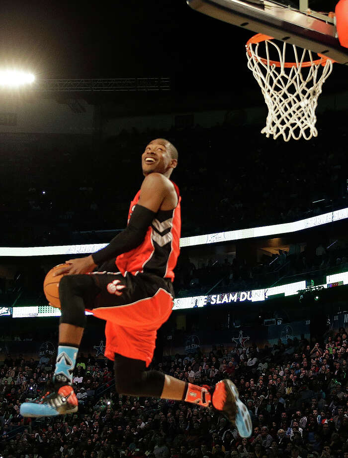 Terrence Ross of the Toronto Raptors participates in the slam dunk contest during the skills competition at the NBA All Star basketball game, Saturday, Feb. 15, 2014, in New Orleans. (AP Photo/Gerald Herbert) Photo: Gerald Herbert, Getty Images / AP