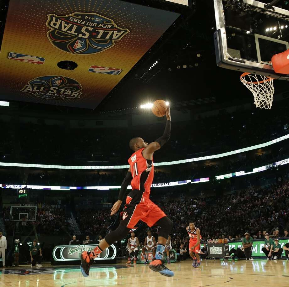 Terrence Ross of the Toronto Raptors participates in the slam dunk contest during the skills competition at the NBA All Star basketball game, Saturday, Feb. 15, 2014, in New Orleans. (AP Photo/Gerald Herbert) Photo: Gerald Herbert, Associated Press