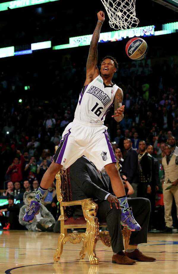NEW ORLEANS, LA - FEBRUARY 15:  Western Conference All-Star Ben McLemore #16 of the Sacramento Kings celebrates after he dunked over Shaquille O'Neal during the Sprite Slam Dunk Contest 2014 as part of the 2014 NBA All-Star Weekend at the Smoothie King Center on February 15, 2014 in New Orleans, Louisiana. NOTE TO USER: User expressly acknowledges and agrees that, by downloading and or using this photograph, User is consenting to the terms and conditions of the Getty Images License Agreement. Photo: Ronald Martinez, Getty Images / 2014 Getty Images