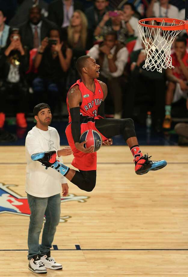 NEW ORLEANS, LA - FEBRUARY 15:  Eastern Conference All-Star Terrence Ross #31 of the Toronto Raptors slam dunks the ball after taking a pass from musician Drake during the Sprite Slam Dunk Contest 2014 as part of the 2014 NBA All-Star Weekend at the Smoothie King Center on February 15, 2014 in New Orleans, Louisiana. NOTE TO USER: User expressly acknowledges and agrees that, by downloading and or using this photograph, User is consenting to the terms and conditions of the Getty Images License Agreement. Photo: Christian Petersen, Getty Images / 2014 Getty Images