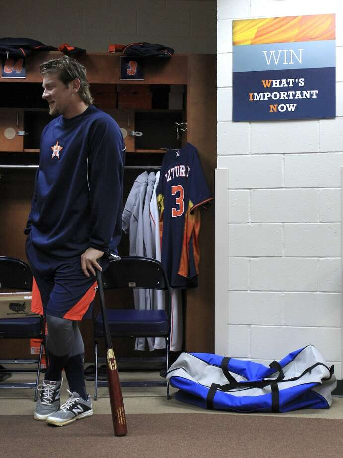 Jonathan Meyer stands in the clubhouse ready to workout as pitchers and catchers report to spring training. Photo: Karen Warren, Houston Chronicle