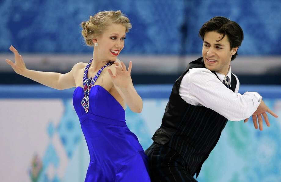 Kaitlyn Weaver and Andrew Poje of Canada compete in the ice dance short dance figure skating competition at the Iceberg Skating Palace during the 2014 Winter Olympics, Sunday, Feb. 16, 2014, in Sochi, Russia. (AP Photo/Darron Cummings) Photo: Darron Cummings, Associated Press / AP