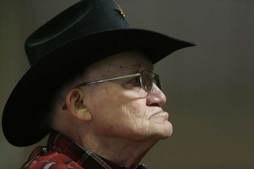 Elroy Jentsch, of McQueeney, listens during the San Antonio Stock Show and Rodeo Cowboy Church servi