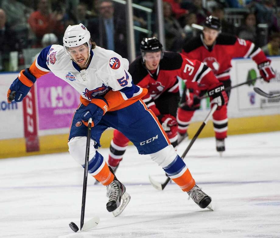 The Bridgeport Sound Tigers Chris Langkow takes a fast break toward the Devils goal during an ice hockey game against the Albany Devils played at the Webster Bank arena, Bridgeport, CT on Sunday, February, 16th, 2014. Photo: Mark Conrad / Connecticut Post Freelance