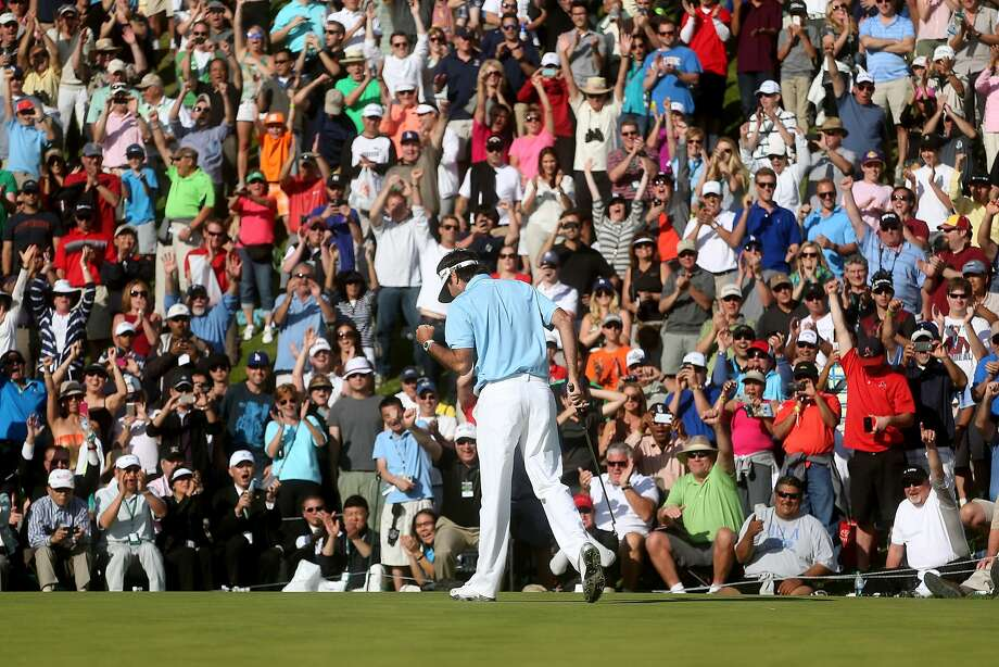 After getting lost in the crowd over the past 41 tournaments, Bubba Watson was alone in first. Photo: Stephen Dunn, Getty Images