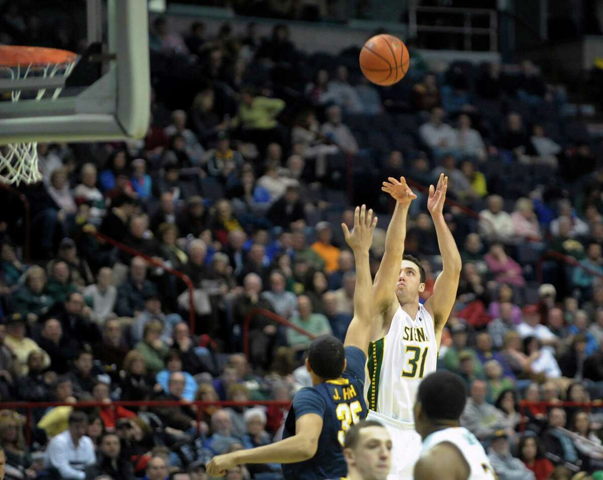 Brett Bisping of Siena puts up a shot during the Siena and Canisius mena€™s basketball game at the Times Union Center on Sunday, Feb. 16, 2014 in Albany, NY. (Paul Buckowski / Times Union)