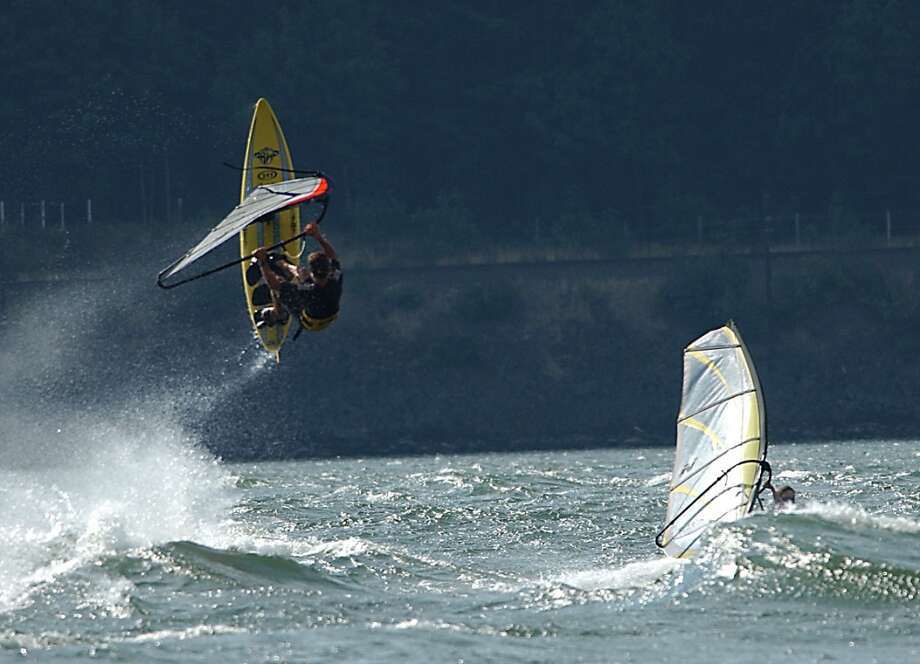 Columbia Gorge, part 2: Windsurf on the on the Columbia River, where a wind tunnel through the canyon creates wind speeds of 35 mph. Photo: JEFF LARSEN, SEATTLE POST-INTELLIGENCER