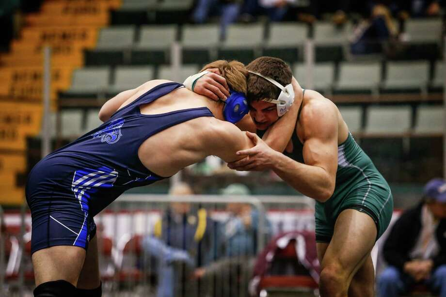 Schalmont's Nick Gallo, right, grapples with Forrest Kubricky of Hadley-Luzerne/Lake George in the 182 lb. class Division 2 final during the Section II Wrestling Tournament at the Glens Falls Civic Center on Sunday, Feb. 16, 2014 in Glens Falls, N.Y. (Dan Little/ Special to the Times Union) Photo: Dan Little / Dan Little