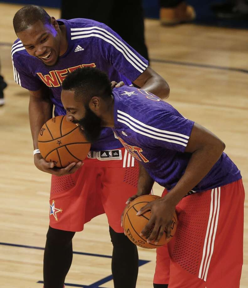 Kevin Durant, of the Thunder, left, and James Harden, of the Rockets laugh before the NBA All Star game. Photo: Bill Haber, Associated Press