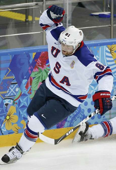 Team USA forward Phil Kessel reacts after one of his three goals helped to defeat Slovenia 5-1 at Shayba Arena. Photo: Petr David Josek / Associated Press / AP
