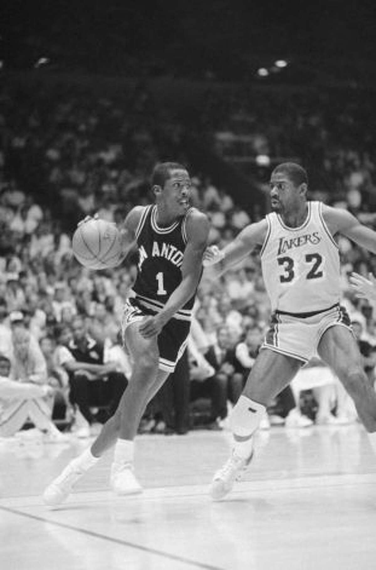 The greatest Presidents. Wes Matthews, left, playing against Magic Johnson. Matthews enjoyed a spectucular career at Harding High School before graduating in 1977. After playing at Wisconsin, Matthews was selected by the Washington Bullets with the 14th pick in the 1980 NBA draft. He played nine seasons in the NBA, scoring more than 3,000 points. He earned two NBA championship rings with the LA Lakers and his son, Wesley, currently plays for the Porland Trailblazers.