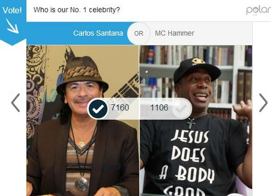 First round: Latin rocker Carlos Santana earned 86 percent of the 8,266 votes cast for this match in the first round. Photo: Mullins, Jessica