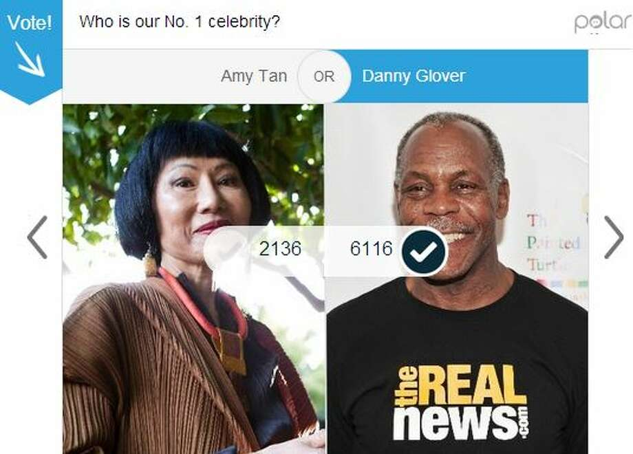 First round: Danny Glover earned 74 percent of the 8,252 votes cast for him vs. author Amy Tan. Photo: Mullins, Jessica