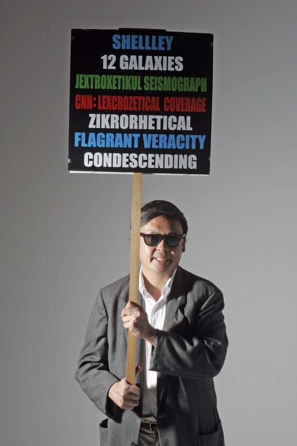 We had several comments nominating  professional protestor Frank Chu, of the legendary Zegnatronic Rocket Society. Frank is known as the fellow who marches around the Bay Area with his multi-colored 12 Galaxies proclamation sign. Photo: Chris Stewart, SFC