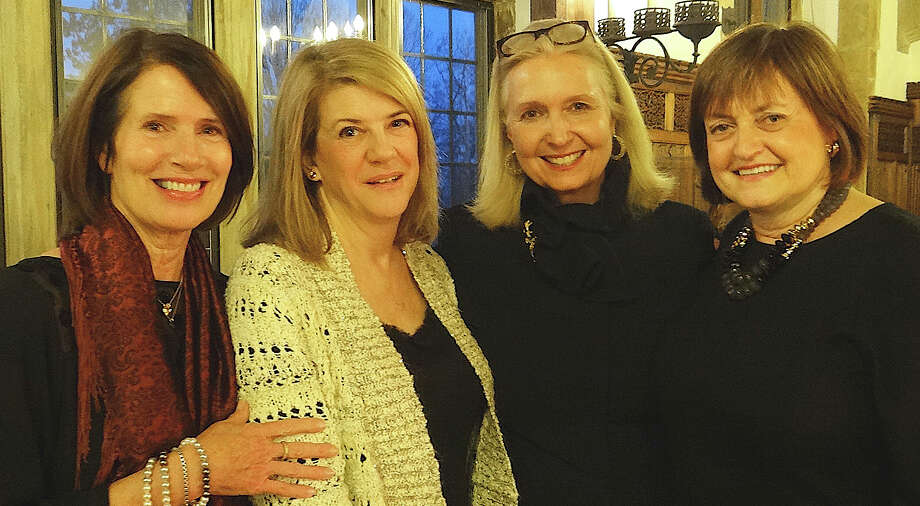 The HeART of Hope chairwomen Polly Lynch, Maryann Donovan and Lisa Doocy, with Gwen Burroughs, second from right, development administrator at Operation Hope, at the fundraising event for Operation Hope on Saturday. Photo: Mike Lauterborn / Fairfield Citizen contributed