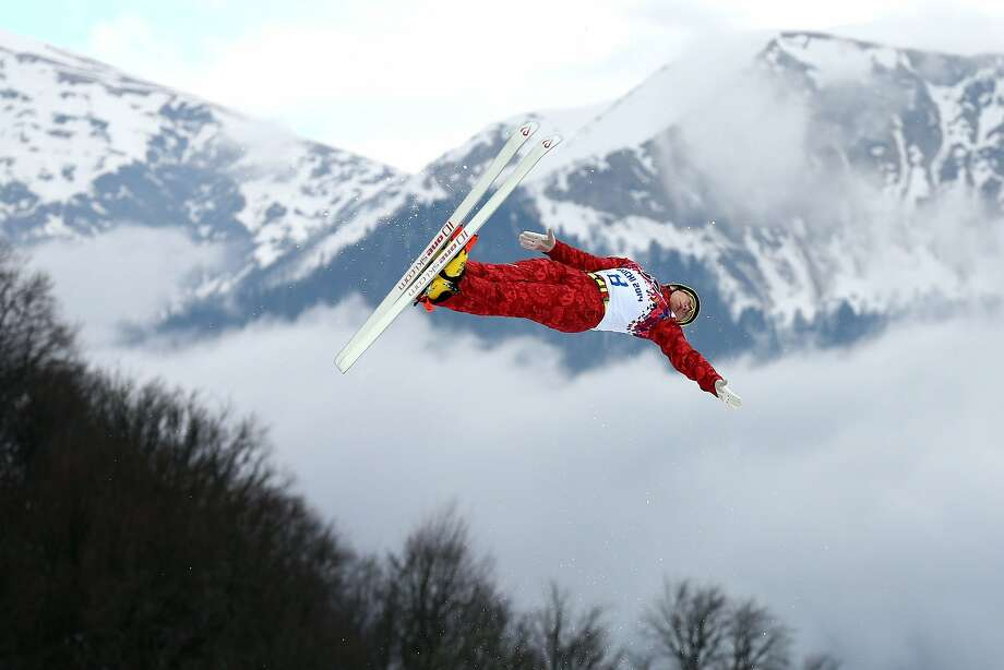 Pavel Krotov of Russia practices prior to the Freestyle Skiing Men's Aerials Qualification on day ten of the 2014 Winter Olympics at Rosa Khutor Extreme Park on February 17, 2014 in Sochi, Russia. Photo: Cameron Spencer, Getty Images