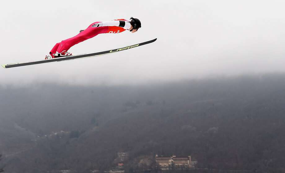 Han Hendrik Piho of Estonia jumps during the Nordic Combined Individual Large Hill official training on day 10 of the Sochi 2014 Winter Olympics at RusSki Gorki Jumping Center on February 17, 2014 in Sochi, Russia. Photo: Lars Baron, Getty Images